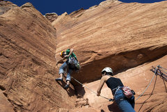 Rock Climbing Photo: Second to last pitch, slightly sketchy rock at sta...