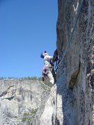 Rock Climbing Photo: Lee, leading it up!