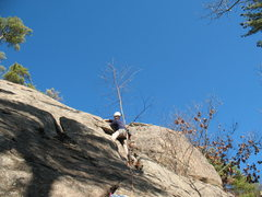 Rock Climbing Photo: Laybacking the chimney and walking it up.