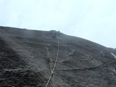 Rock Climbing Photo: Onsighting 2nd pitch on first ascent