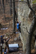 Rock Climbing Photo: Reaching for the right hand crimp
