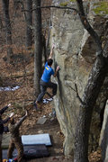 Rock Climbing Photo: Sticking the move to the jug