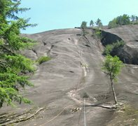 Rock Climbing Photo: Climber near the top of pitch 3
