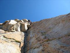 Rock Climbing Photo: Leading the Slot, 9-11-08. Photo by René Renteria...