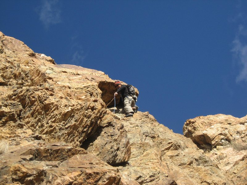 Rock Climbing Photo: Christian Knight pulling the 3rd pitch roof.