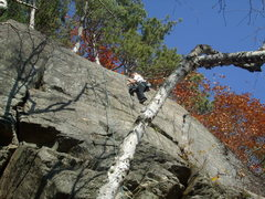 Rock Climbing Photo: Elin on the crack at the top of Yoda