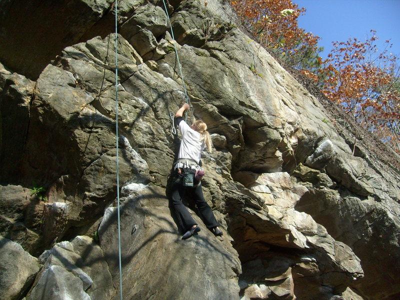 Rock Climbing Photo: Elin working Yoda
