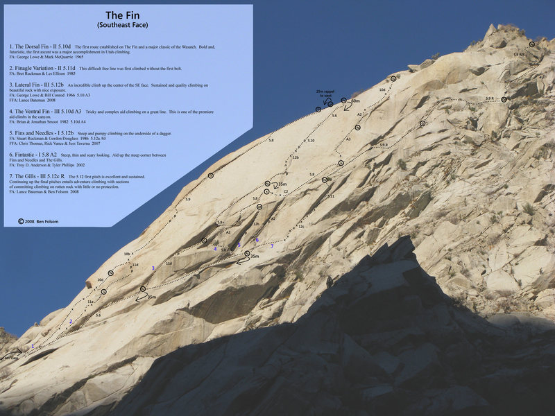 Photo/Topo of the SE face of The Fin.  (This has corrected FA info).
