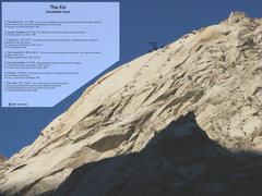 Rock Climbing Photo: Photo/Topo of the SE face of The Fin.  (This has c...
