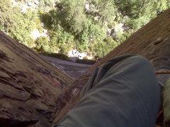 Rock Climbing Photo: Dark Shadows, Top of 3rd pitch
