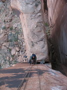 Rock Climbing Photo: Neil jugging the final headwall.