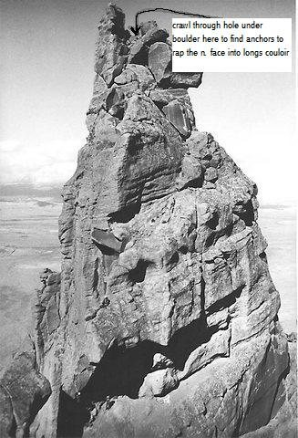 I plucked this photo from George Bell's collection to show the location of the North Face Rap anchors.