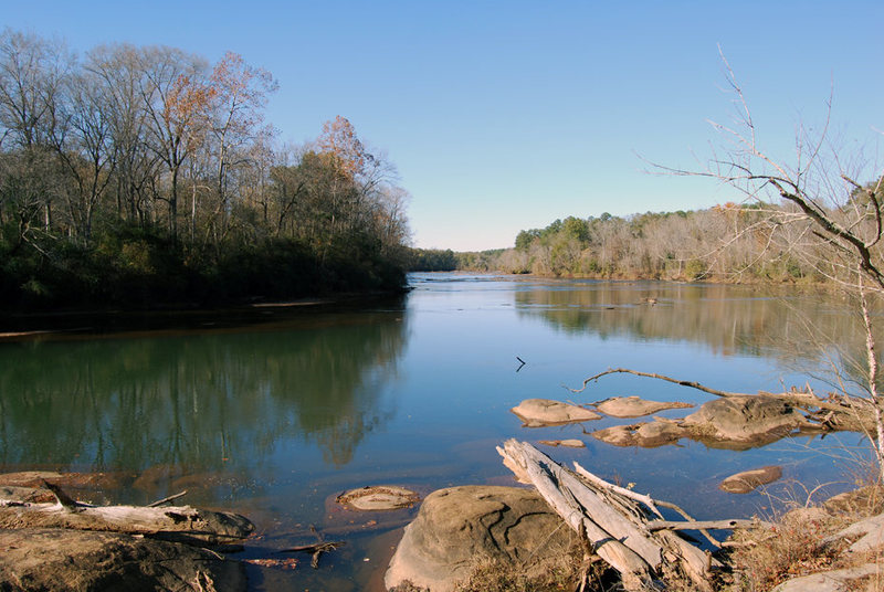 Ocmulgee river near the boulders in Hitchiti Expermental Forest