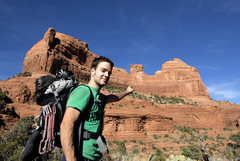 Rock Climbing Photo: pat brown pointing at the wild wild west route...h...