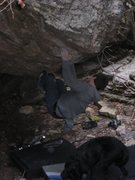 Rock Climbing Photo: Roofin it near the middle of the problem with a de...