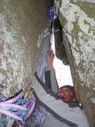 Rock Climbing Photo: Placing Big Gear on upper mt. scott