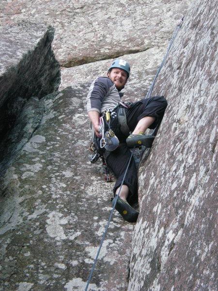 Rock Climbing Photo: Top of 5.8 crack on upper mt. scott