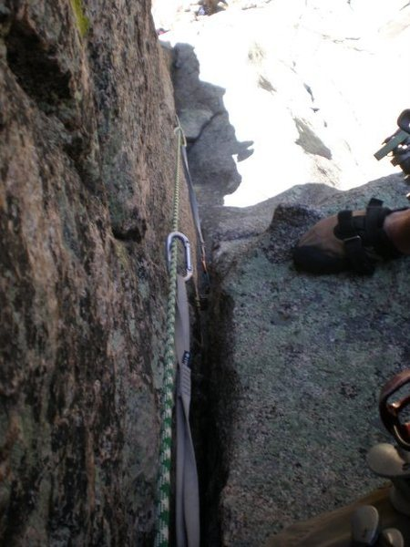 Looking back down at the second pitch's crux.