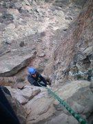 Rock Climbing Photo: John nailing the lieback on the 1st pitch.