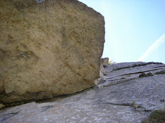 Rock Climbing Photo: Looking up at the roof. You can also see the lieba...