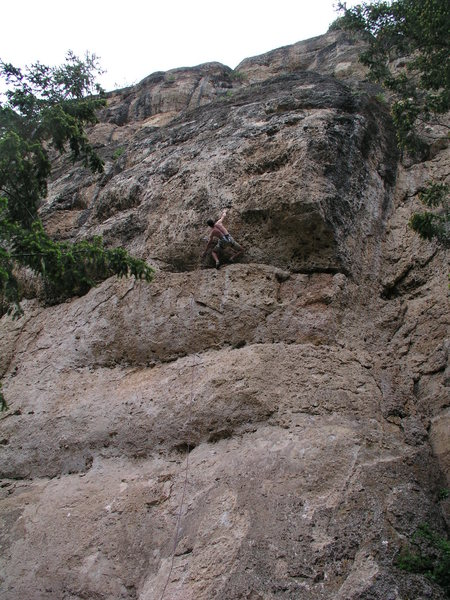 Mike Snyder on the FA of Caterpillar Exodus, a .12a at the Valhalla Cliff in Tensleep.