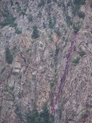 Rock Climbing Photo: The purple line is the route inside the corner and...