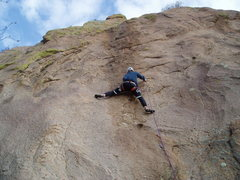Rock Climbing Photo: The crux. Moving left is reasonable, but then it's...