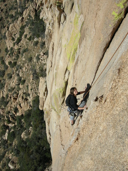 Rock Climbing Photo: Shana Payne finishing the third pitch of Peacemake...