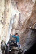 Rock Climbing Photo: The opening moves on Iron Maiden, before the addit...