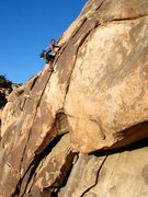 Rock Climbing Photo: Kris Solem climbing the route, 11-30-08. Photo by ...