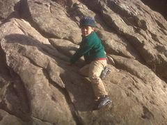 Rock Climbing Photo: My son Gus climbing in Sinks Canyon, Wyoming at ag...