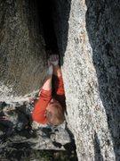 Rock Climbing Photo: Randy on his OS lead of Chingdango
