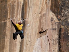 Rock Climbing Photo: The final redpoint crux is controlling this hold a...