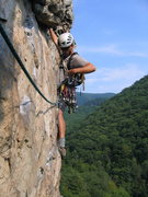 Rock Climbing Photo: Start of 3rd pitch of Ecstasy at Seneca Rocks, WV