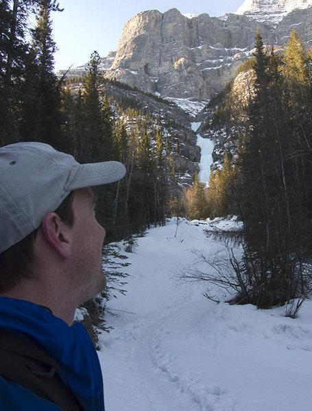 Rob M on approach to Banff's Professor Falls. Ultra-classic.