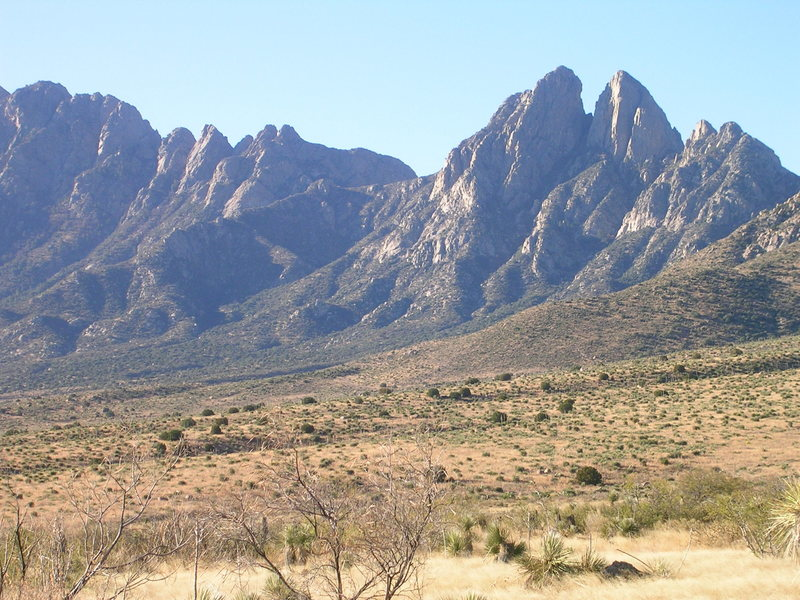 Rock Climbing Photo: Rabbits Ears from the Aguirre Springs road.  Dibs ...
