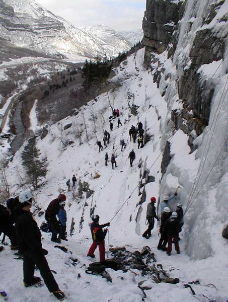 """At the base of """"The Apron"""" during the Ice Festival 01/03. During peak season it gets a bit crowded, but not usually this crowded."""