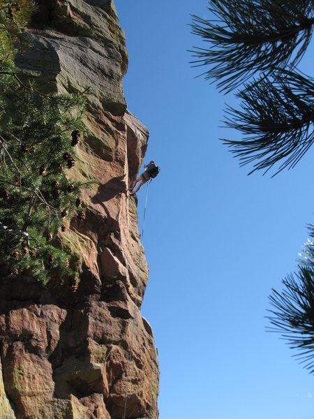 Rock Climbing Photo: Me rap'ing from the 3rd.  Taken by John Brooks. Oc...