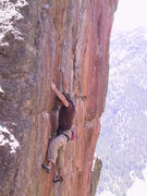 Rock Climbing Photo: Ted on the final crux moves of the Quickening. Thi...