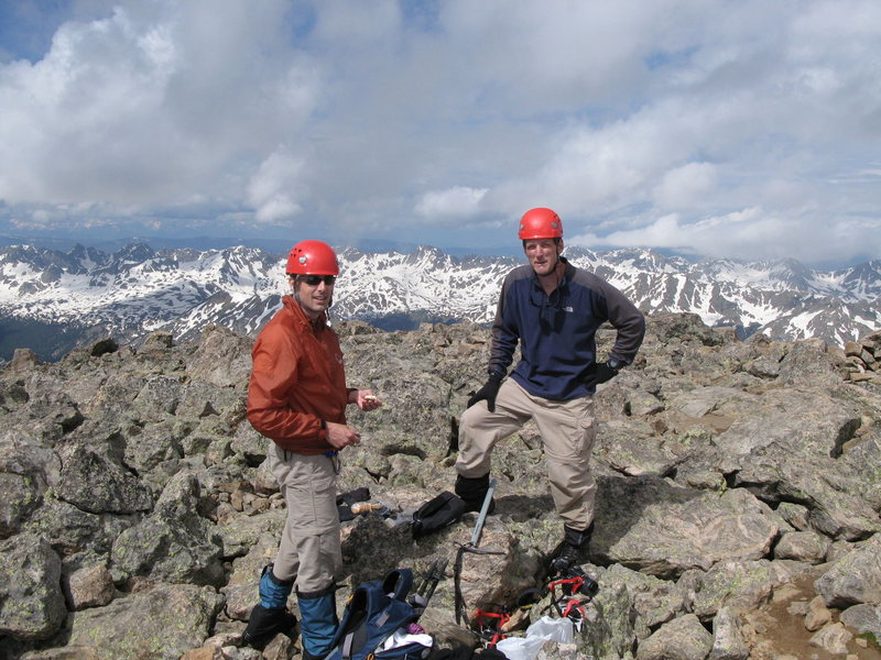 John Brooks (right) and I atop Mount of the Holy Cross.  Triumphant after our ascent of the Cross Couloir.  I think Dave was taking the picture. July 6 2008