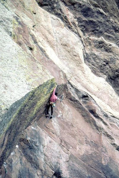Bob Horan on 2nd free ascent of Doric Dihedral.