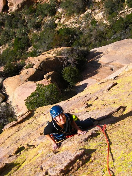 Rock Climbing Photo: Easy chickenhead hiking on the top of pitch 3 of E...