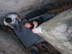 Rock Climbing Photo: Luke tries to squeeze his way up this beautiful ar...