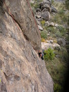 Rock Climbing Photo: Kimberly, resting above the steep huecos that made...