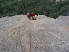 """Rock Climbing Photo: My patient belayer thinking """"Why doesn't he p..."""