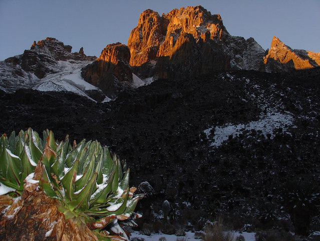 Mount Kenya (Batian) from Shipton's Camp in an unseasonably snowy September 2004.