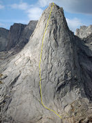 Rock Climbing Photo: Pingora's Northeast Face approximate route shown. ...