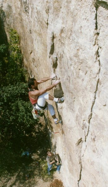Barnburner Crack before the bolts. This photo is from September of 1988. The belayer is non other than Jim Blakely. As much as I'd like to say I on-sighted this thing, I can't, I'm sure that I had top roped it at least a hundred times. To walk up to this crack and on- sight it would be really cool. I lost that chance over two decades ago. At the time I figured this was the 4th or 5th lead of the climb. Good thing I wasn't wearing lycra. Bob Bickford December 2008