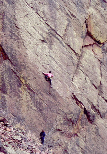 Bob Horan on an early repeat ascent of Perilous Journey, circa 1980.