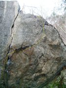 Rock Climbing Photo: Yellow line is the basic route...